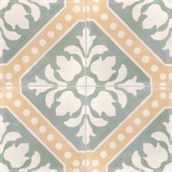 Carreau de ciment coloré motif 4 carreaux vert, jaune et blanc CE02 03.10.08