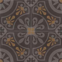 Carreau de ciment coloré motif 4 carreaux gris foncé, gris clair et marron CERCLE 01.32.22