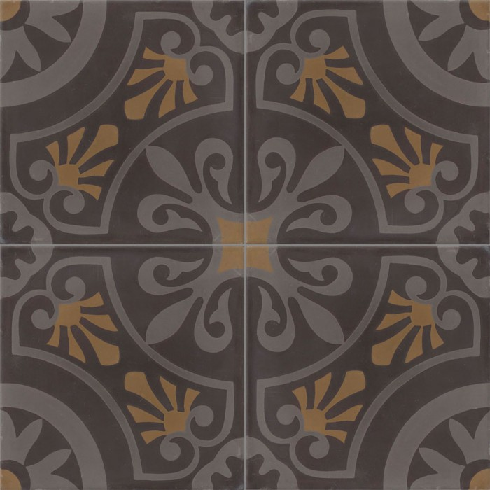 carreau de ciment color motif 4 carreaux gris fonc gris clair et marron cercle. Black Bedroom Furniture Sets. Home Design Ideas