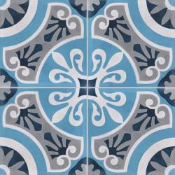 Carreau de ciment coloré motif 4 carreaux bleu clair et foncé, blanc et gris CERCLE 27.07.30.15