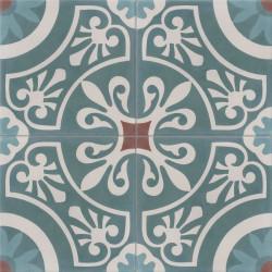 Carreau de ciment coloré motif 4 carreaux bleu (clair et canard), gris et marron CERCLE 40.07.39.35
