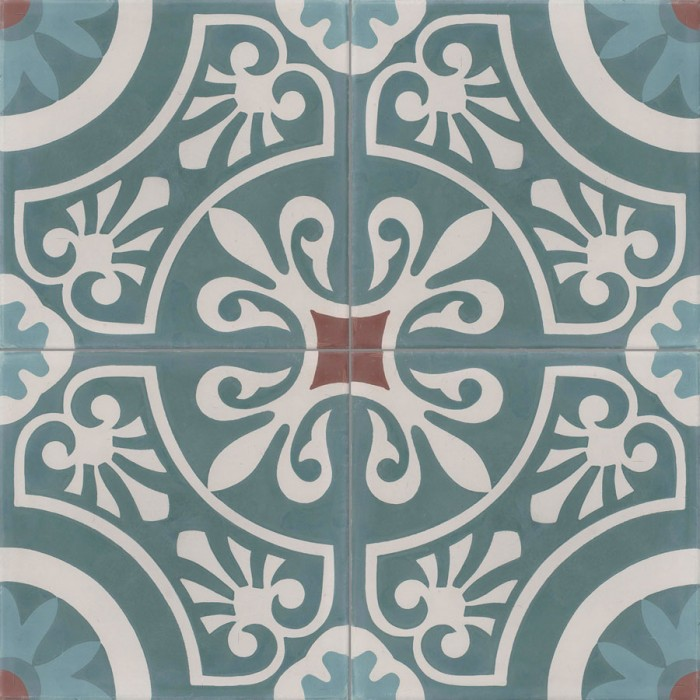 carreau de ciment color motif 4 carreaux bleu clair et canard gris et marron cercle. Black Bedroom Furniture Sets. Home Design Ideas