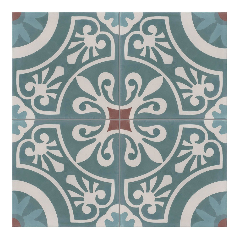Carreau de ciment color motif 4 carreaux bleu clair et canard gris et marron cercle - Carreaux de ciment bleu ...