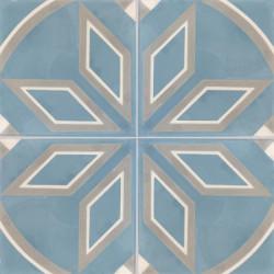 Carreau de ciment coloré motif 4 carreaux bleu, beige et kaki COMPTOIR 15.07.27