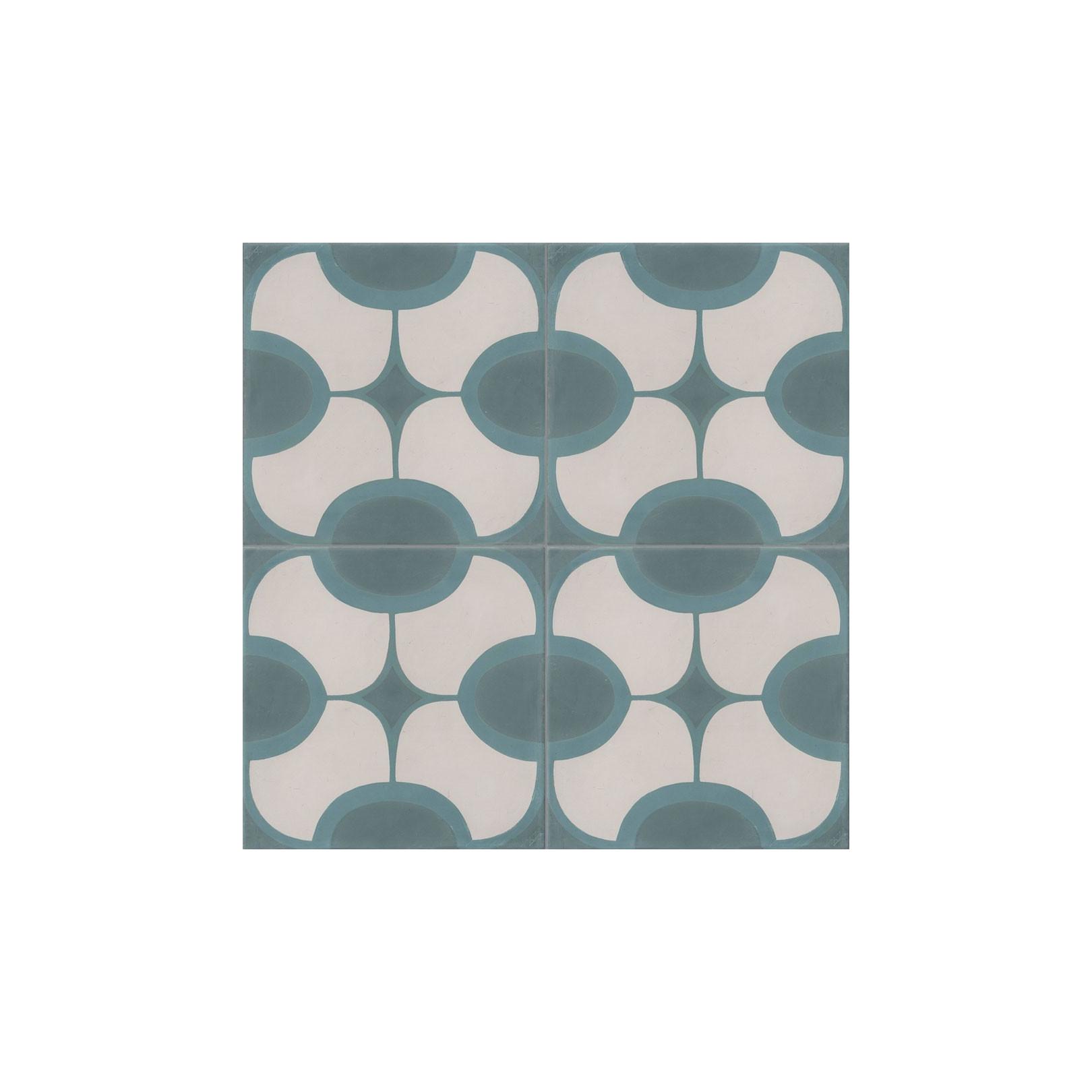 Carreau de ciment coloré motif 4 carreaux vert, bleu et blanc JOHN 07.40.39
