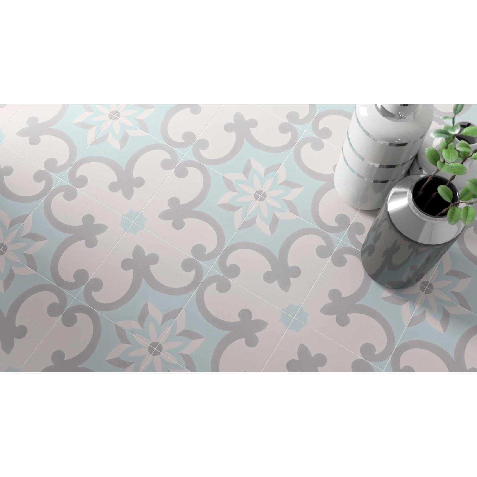 Carrelage grès cérame effet carreau ciment Cement Tradition Decor 2 (2 couleurs), 18,5x18,5cm