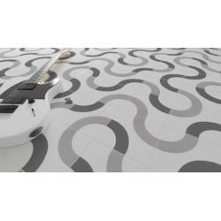 Carrelage grès cérame effet carreau ciment Cement Loop Decor (2 couleurs), 18,5x18,5cm