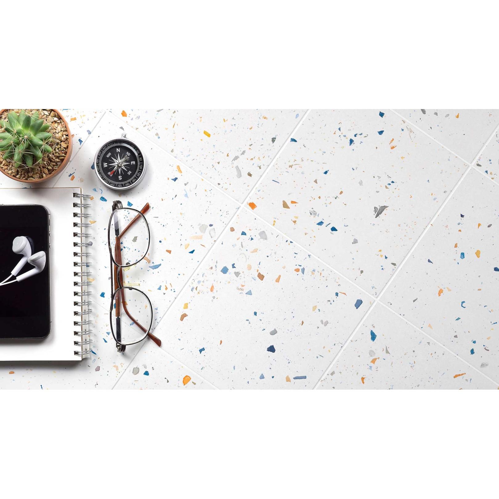 Carrelage grès cérame effet carreau terrazzo Drops Color uni (3 couleurs), 18,5x18,5cm