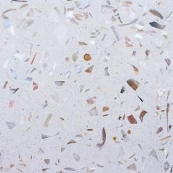 Carreau Terrazzo uni blanc inclusions nacre NATU10, 20x20cm