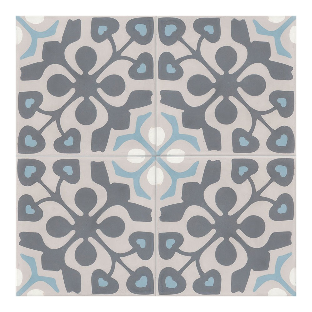 Carreau de ciment color motif 4 carreaux beige gris fonc bleu blanc madison - Carreaux de ciment bleu ...