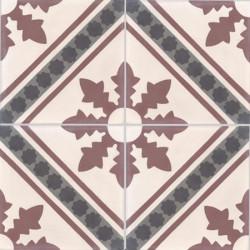 Carreau de ciment coloré motif 4 carreaux gris clair, bordeaux, anthracite et noir NC2 35.32.07.01