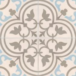 Carreau de ciment coloré motif 4 carreaux greige, gris et bleu NORMANDIE 07.36.06