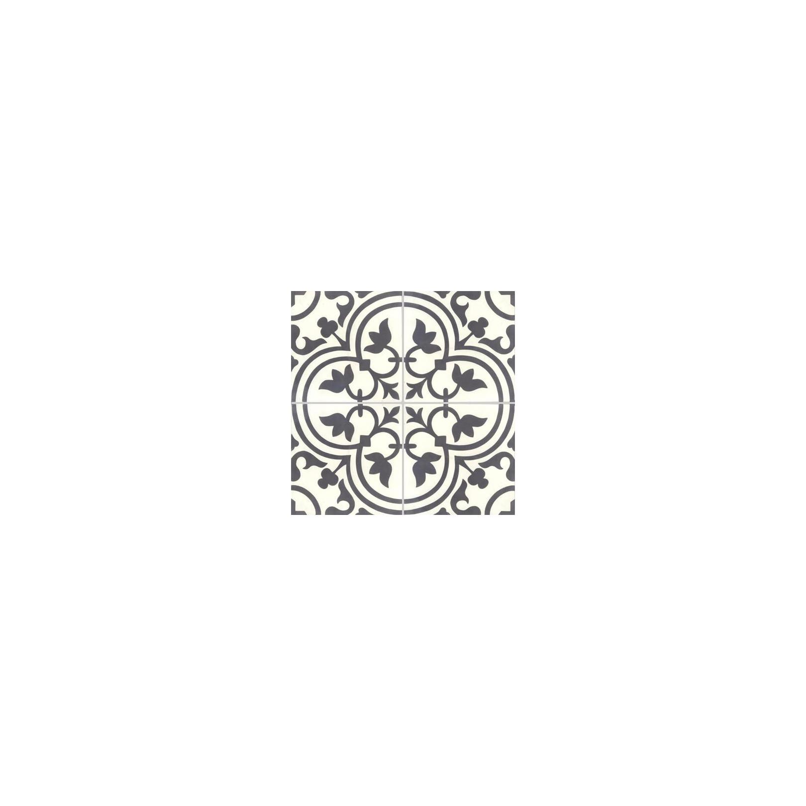 Carreau de ciment coloré motif 4 carreaux noir et blanc NORMANDIE 10.01