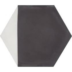 Carreau de ciment coloré Hexagone motif angle noir et blanc CLOVIS 01.10
