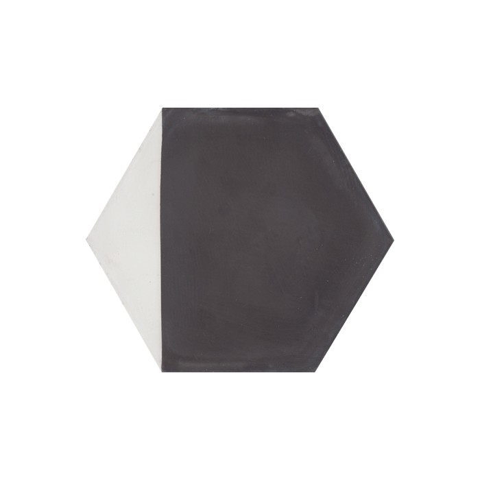 Carreau de ciment coloré Hexagone motif angle noir et blanc CLOVIS 01.10