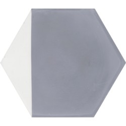 Carreau de ciment coloré Hexagone motif angle gris et blanc CLOVIS 33.10
