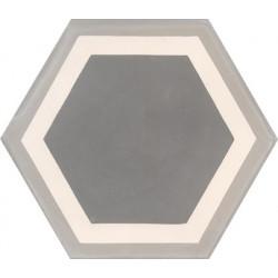 Carreau de ciment coloré Hexagone motif contours gris moyen, blanc et gris GALA 07.27.32/1