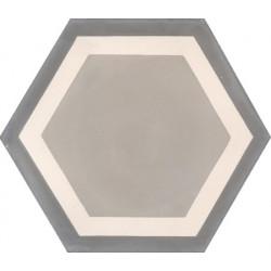 Carreau de ciment coloré Hexagone motif contours greige, crème et gris moyen GALA 07.27.32/2