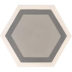 Carreau de ciment coloré Hexagone motif contours greige, gris moyen et crème GALA 07.27.32/3