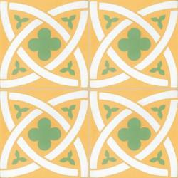 4 Carreaux de ciment coloré jaune vert et blanc T02 10.17.18