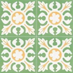 Carreau de ciment coloré motif vert, blanc et jaune T03 10.17.18