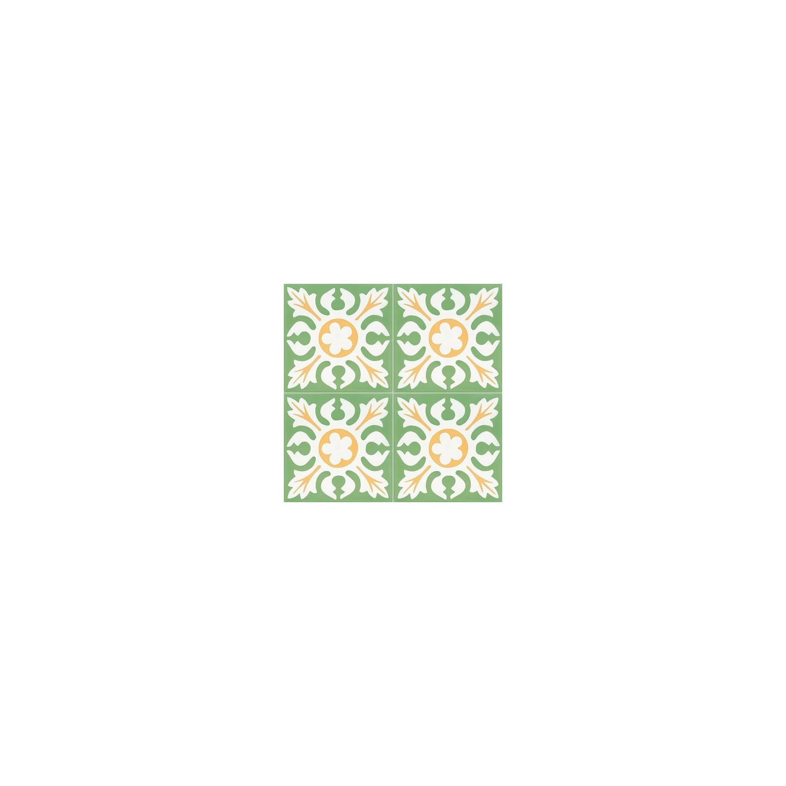 4 Carreaux de ciment coloré motif vert, blanc et jaune T03 10.17.18