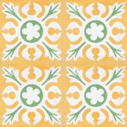 4 Carreaux de ciment coloré motif jaune, blanc et vert T04 10.17.18