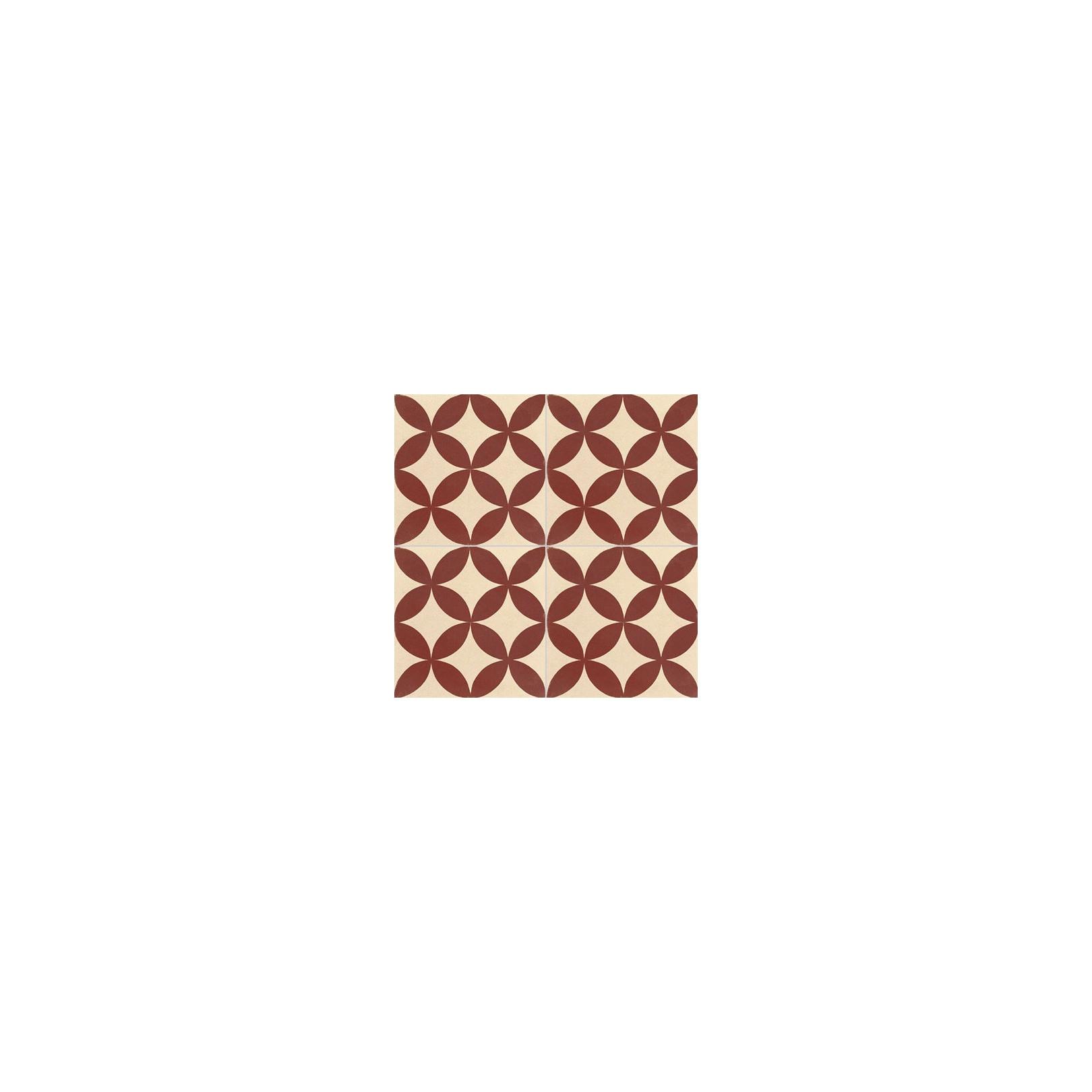Carreau de ciment coloré motif bordeaux et crème TC 01