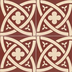 Carreau de ciment coloré motif bordeaux et crème TC 10