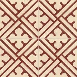 4 Carreaux de ciment coloré motif bordeaux et crème TC 11