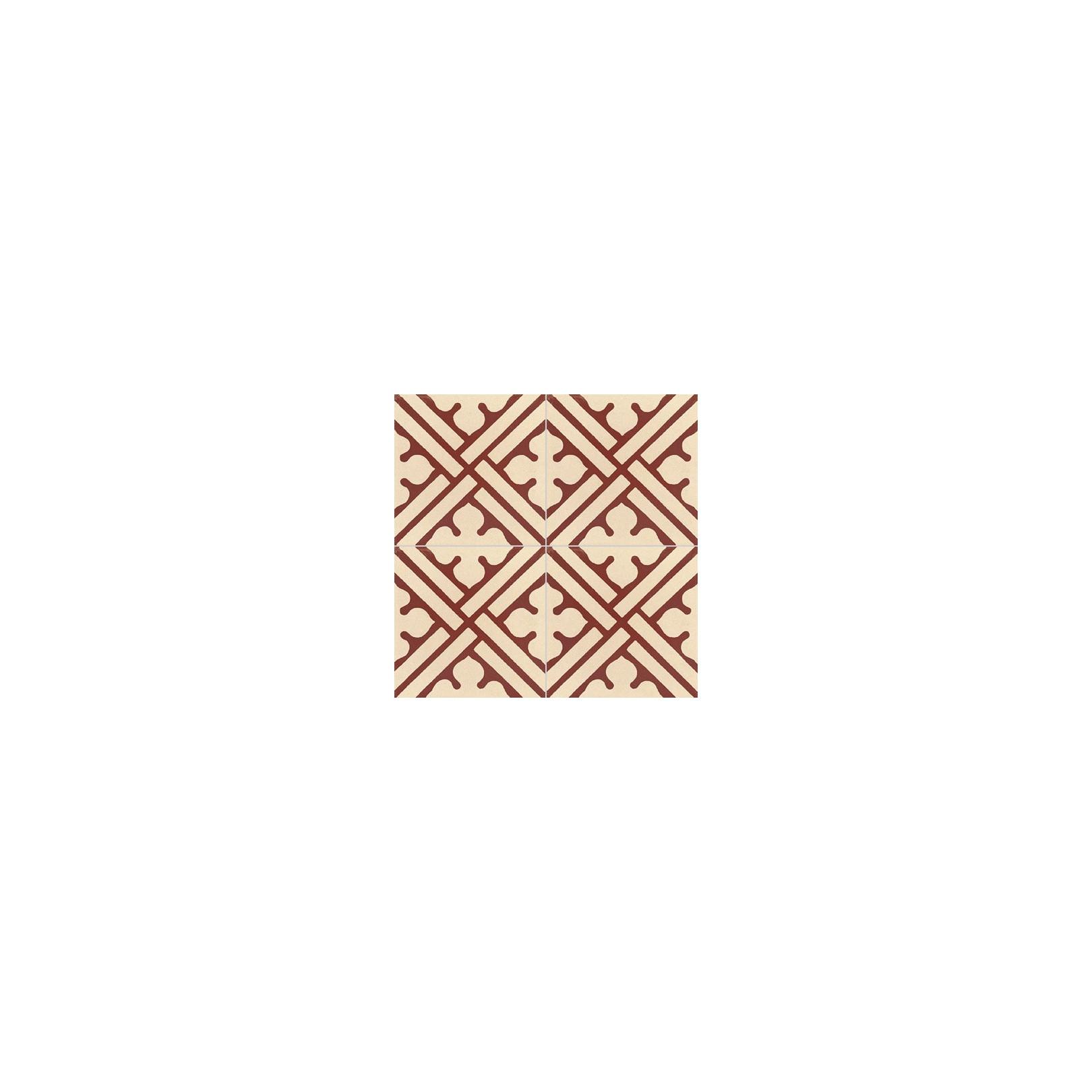 Carreau de ciment coloré motif bordeaux et crème TC 11