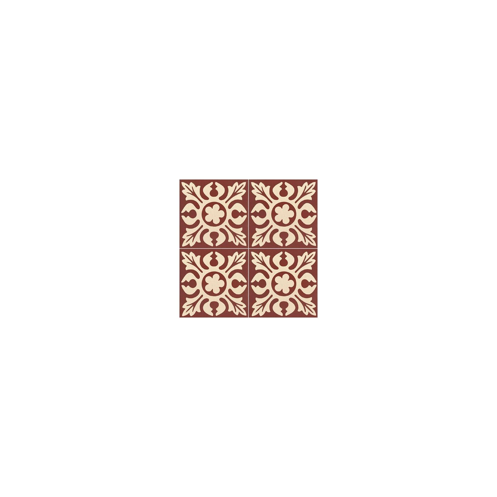 Carreau de ciment coloré motif bordeaux et crème TC 12