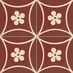 Carreau de ciment coloré motif bordeaux et crème TC 13