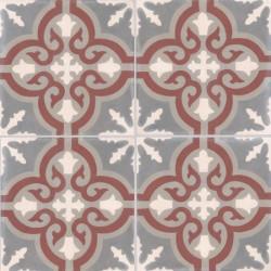Carreau de ciment coloré motif 4 carreaux gris foncé, crème, gris moyen et marron TROUVILLE 32.07.27.23