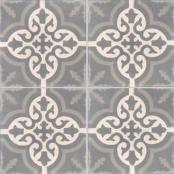 Carreau de ciment coloré motif 4 carreaux gris foncé, crème et gris moyen TROUVILLE 32.27.07