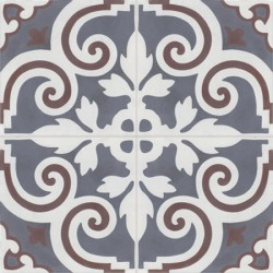 Carreau de ciment coloré motif 4 carreaux gris moyen, blanc et marron VENDOME 10.33.35