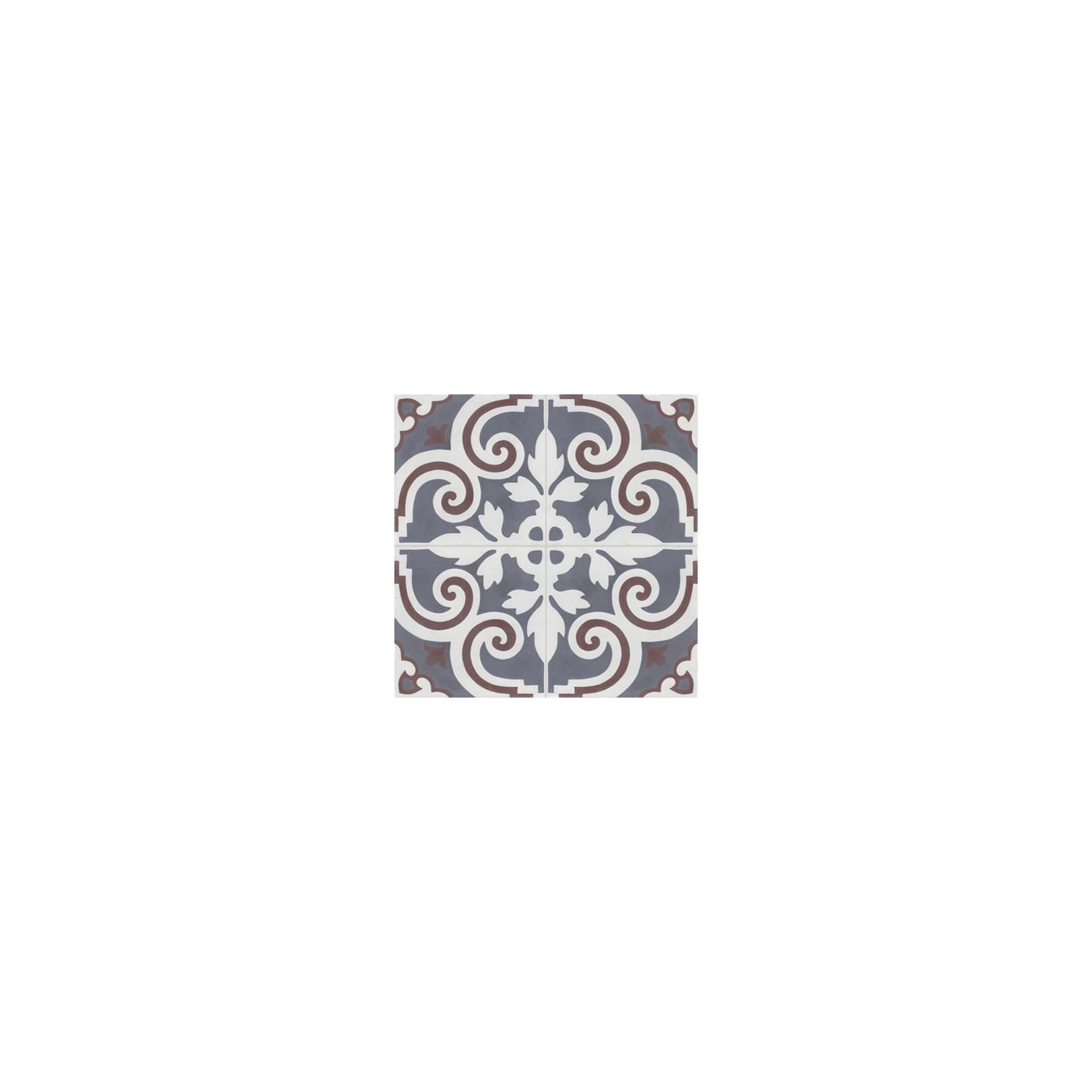 Carreau de ciment coloré motif 4 carreaux gris moyen, blanc et marron VENDOME 10.33.35