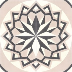 Carreau de ciment coloré motif 4 carreaux greige, gris foncé et blanc T24 07.10.01