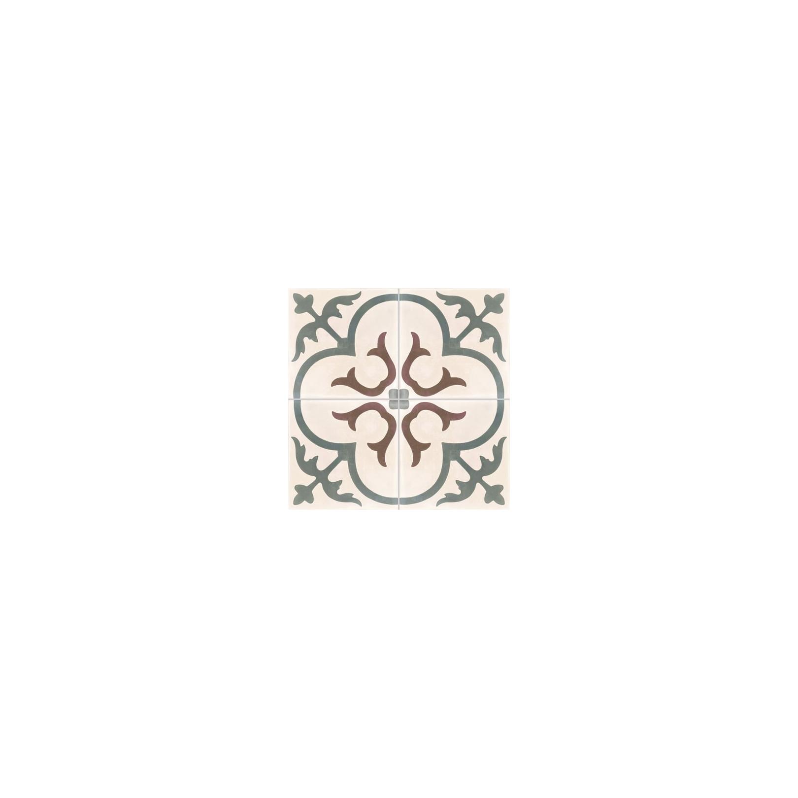 Carreau de ciment coloré motif 4 carreaux crème, gris moyen et marron T31 07.32.35