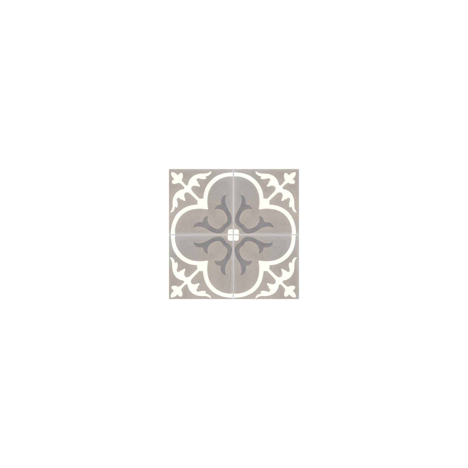 Carreau de ciment coloré motif 4 carreaux gris, blanc et gris moyen T31 27.10.32