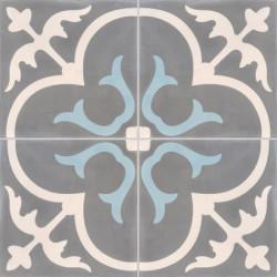 Carreau de ciment coloré motif 4 carreaux gris moyen, crème et bleu T31 32.07.06