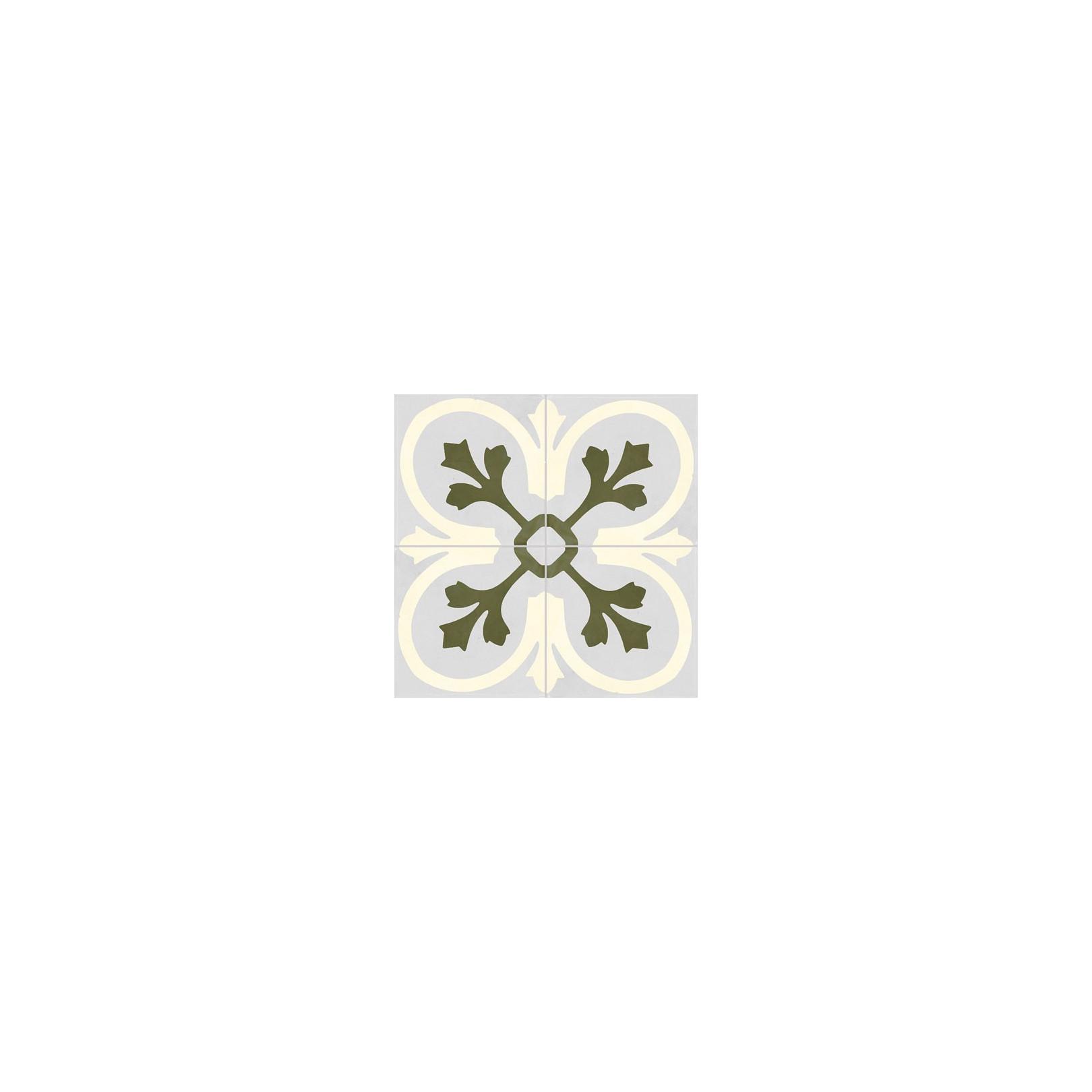 Carreau de ciment coloré motif 4 carreaux bleu ciel, blanc et vert T32 07.10.22