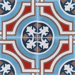 Carreau de ciment coloré motif 4 carreaux bleu, rouge, crème, marron et bleu foncé TEDDY 15.30.07.11.28