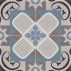 Carreau de ciment coloré motif gris, bleu, gris moyen, blanc et noir SENLIS U01.07.15.10.27