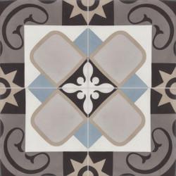 Carreau de ciment coloré motif gris, bleu, gris moyen, gris foncé, blanc et noir SENLIS U01.10.27.37.07.06