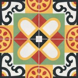 Carreau de ciment coloré motif 4 carreaux vert, rouge, jaune, noir et blanc T16 10.01.09.16.17