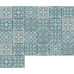 Carreau de ciment coloré patchwork bleu canard et gris PW 30 (39.07)