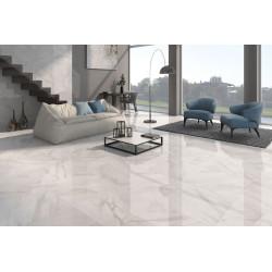 Carrelage grès cérame effet marbre poli Calacatta (2 couleurs), rectifié