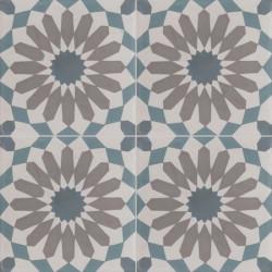 Carreau de ciment coloré motif 4 carreaux bleu greige, gris, gris moyen et bleu RE 07.40.39.27
