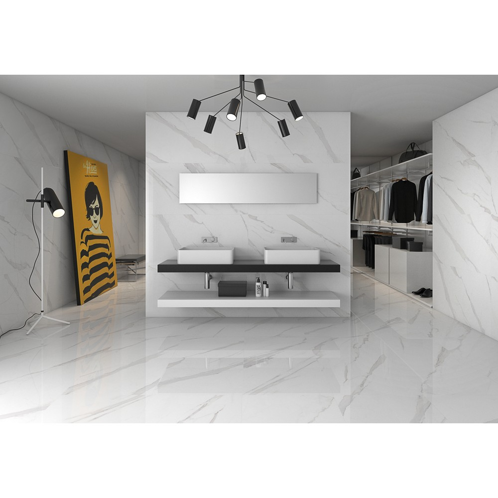 carrelage gr s c rame effet marbre poli blanc statuary. Black Bedroom Furniture Sets. Home Design Ideas